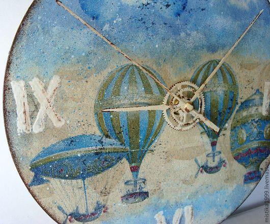 """Часы для дома ручной работы. Ярмарка Мастеров - ручная работа. Купить Часы """"Достать до облаков"""". Handmade. Часы, облака, голубой"""