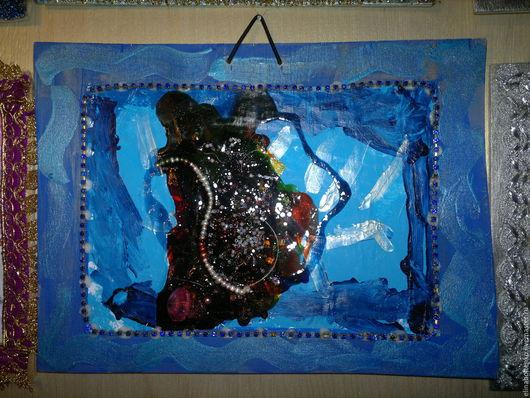 """Абстракция ручной работы. Ярмарка Мастеров - ручная работа. Купить Картина """"Ночное море"""". Handmade. Картина, картина в подарок, панно"""