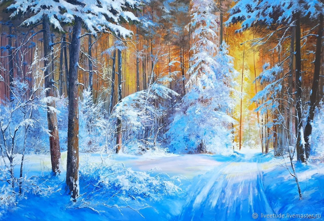 :Oil painting landscape _ Winter forest_ author's work, Pictures, Stary Oskol,  Фото №1
