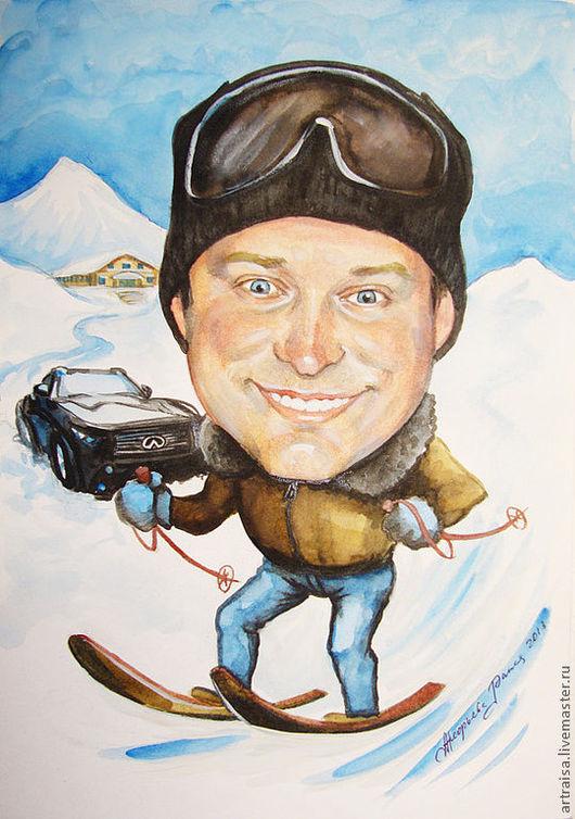 Шарж лыжника выполнен акварелью. 30х20. Стоимость подобной композиции 4.000 руб