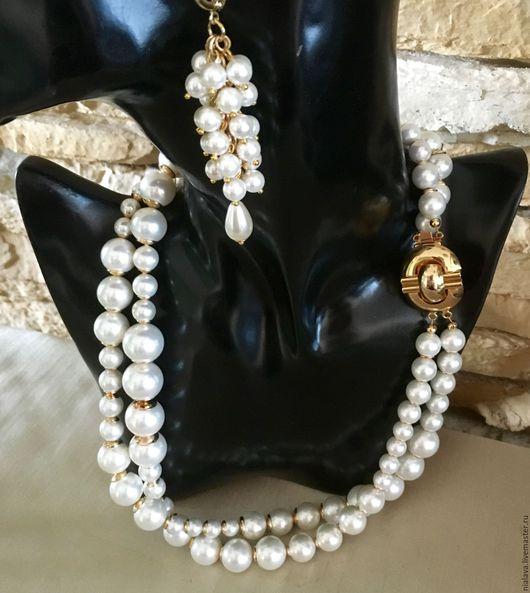 Красивве стильные классические эксклюзивные украшения авторская бижутерия из жемчуга коралла красного колье бусы ожерелье на шею купить
