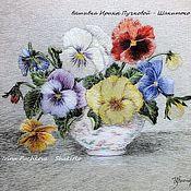 """Картины и панно handmade. Livemaster - original item """"Виолы"""", картина художественной гладью. Handmade."""