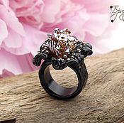 Украшения ручной работы. Ярмарка Мастеров - ручная работа Ирис черный и золото - кольцо стеклянное цветок лэмпворк. Handmade.