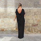 Одежда ручной работы. Ярмарка Мастеров - ручная работа Черное макси длинное платье, кафтан, абайя с открытой спиной. Handmade.