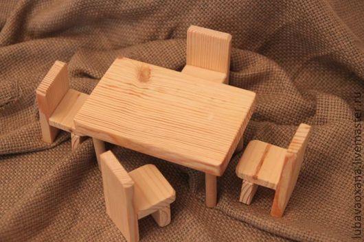 Декупаж и роспись ручной работы. Ярмарка Мастеров - ручная работа. Купить Кукольный стол стульями. Handmade. Белый, стул, заготовки
