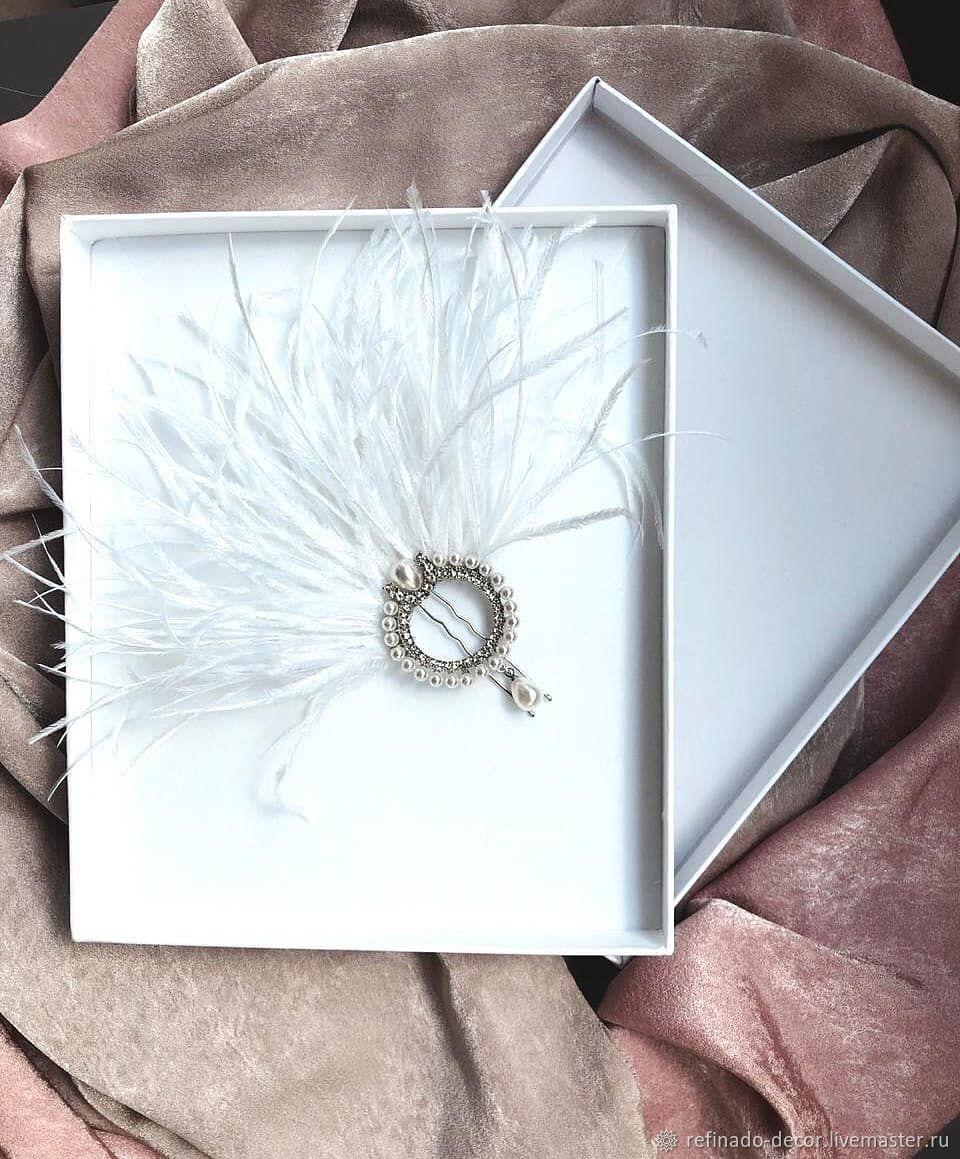 свадебная шпилька с перьями, Украшения, Видное, Фото №1