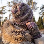 """Аксессуары ручной работы. Ярмарка Мастеров - ручная работа Комплект вязаный """"Вечерние тени""""  шапка и митенки. Handmade."""