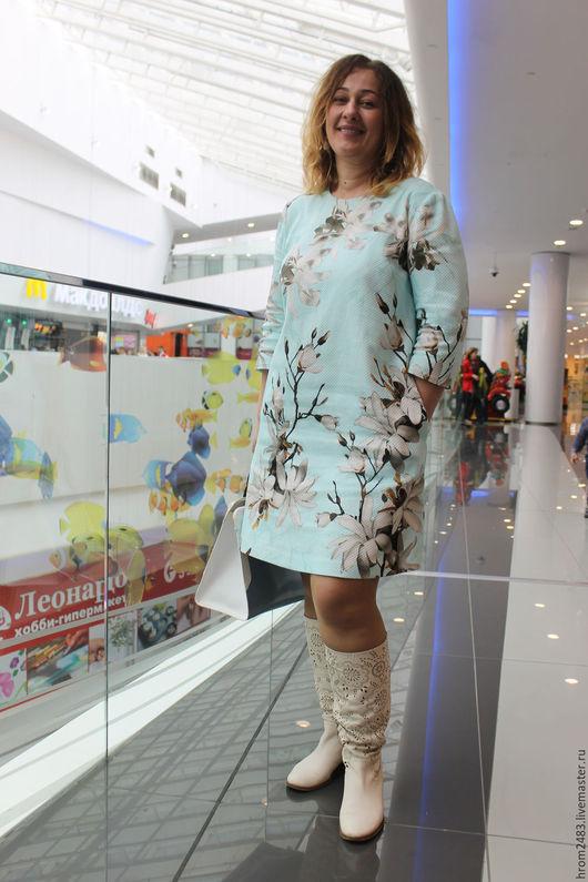 """Платья ручной работы. Ярмарка Мастеров - ручная работа. Купить Платье из жаккарда """"Весенние цветы"""". Handmade. Голубой, на заказ"""