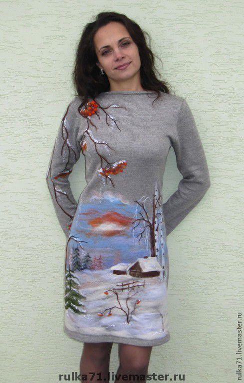 """Купить платье """" Зима"""" - авторский трикотаж, зима, Рябина, Снег, деревня, зимнее платье"""