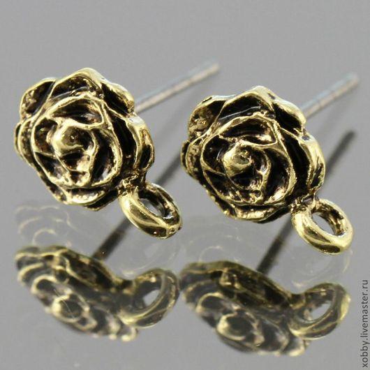 Основа для сережек гвоздиков пуссеты Роза с петелькой для крепления подвески Материал сплав с покрытием Цвет Античная бронза
