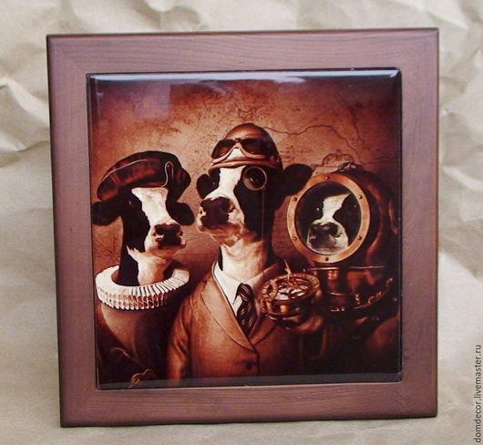 """Животные ручной работы. Ярмарка Мастеров - ручная работа. Купить Картина на керамике """"Умные коровы"""". Handmade. Коричневый, печать на плитке"""