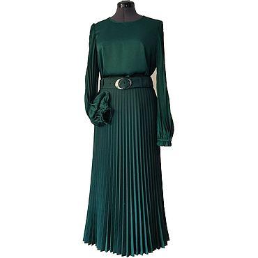 Одежда ручной работы. Ярмарка Мастеров - ручная работа Юбка+блузка, темный изумруд. Handmade.