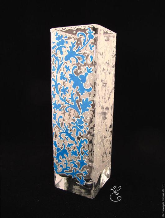 """Вазы ручной работы. Ярмарка Мастеров - ручная работа. Купить Ваза """"Кружево"""" (ручная роспись). Handmade. Голубой, ваза стеклянная"""