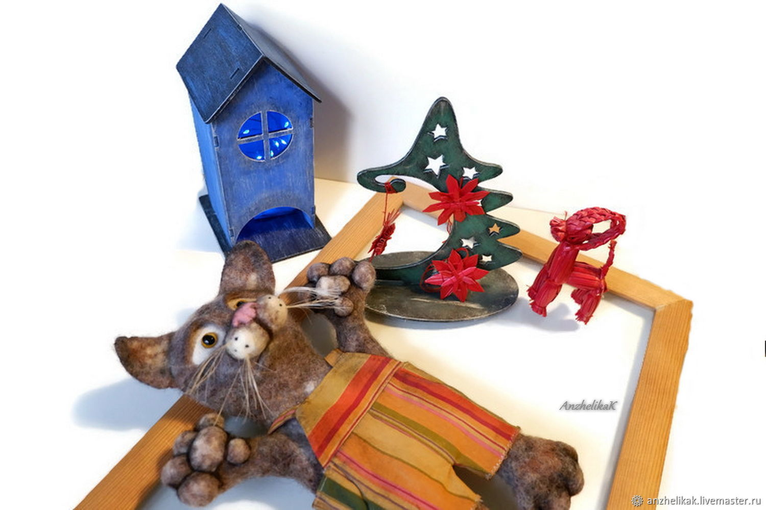 Cat felted attic toy on hand for puppet theater, Puppet show, Rostov-on-Don,  Фото №1
