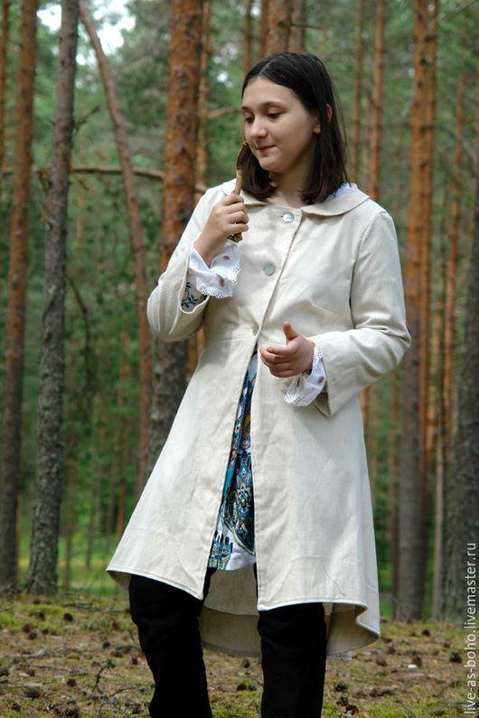 """Верхняя одежда ручной работы. Ярмарка Мастеров - ручная работа. Купить летнее пальто """"Босфор"""". Handmade. Белый, босфор, лён"""
