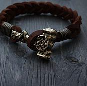 Украшения handmade. Livemaster - original item Leather bracelet with THOR`s HAMMER. Handmade.