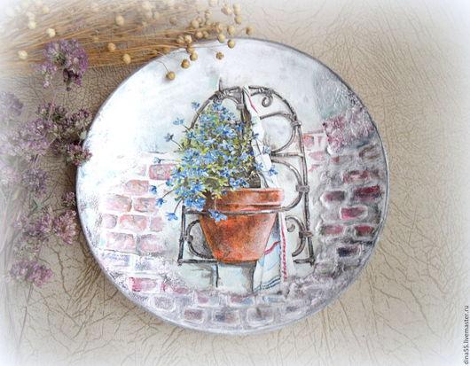 Картины цветов ручной работы. Ярмарка Мастеров - ручная работа. Купить декоративная тарелка Незабудка. Handmade. Голубой, голубые цветы