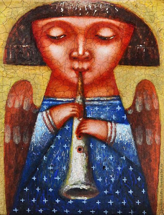 """Фантазийные сюжеты ручной работы. Ярмарка Мастеров - ручная работа. Купить """"Ангел с дудочкой"""", живопись на дереве. Handmade. Синий, музыка"""