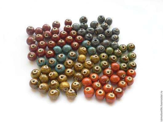 Для украшений ручной работы. Ярмарка Мастеров - ручная работа. Купить Керамические бусины, 8,10 мм. Handmade. Разноцветный