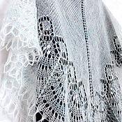 Аксессуары handmade. Livemaster - original item Openwork shawl knit  Wedding, white mohair shawl knitting. Handmade.
