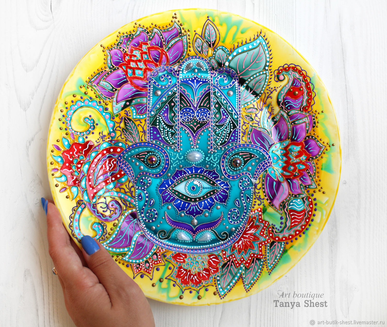 Decorative plate 'Hamsa' hand painted, Plates, Krasnodar,  Фото №1