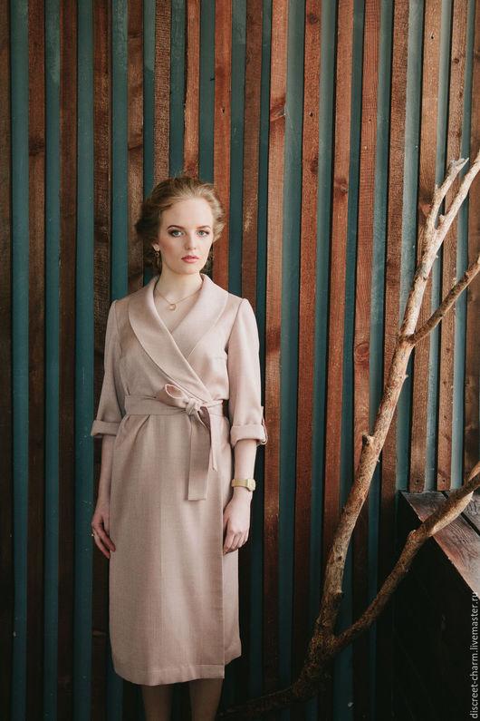 Платья ручной работы. Ярмарка Мастеров - ручная работа. Купить Розовое нарядное платье с запахом, поясом и шалевым воротником. Handmade.