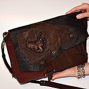 handmade. Livemaster - original item Women`s handbag genuine leather Steampunk bag with the cat. Handmade.