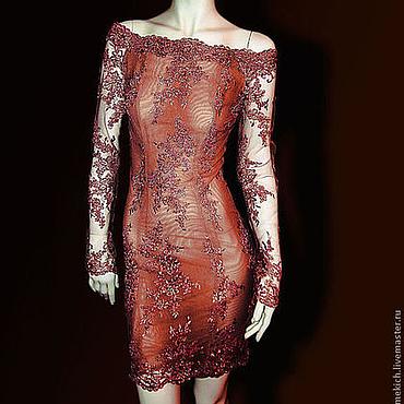 """Одежда ручной работы. Ярмарка Мастеров - ручная работа Платье кружевное короткое 3D """"Старинный романс"""". Handmade."""