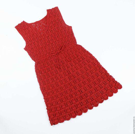 Одежда для девочек, ручной работы. Ярмарка Мастеров - ручная работа. Купить Платье Красное. Handmade. Ярко-красный, платье вязаное