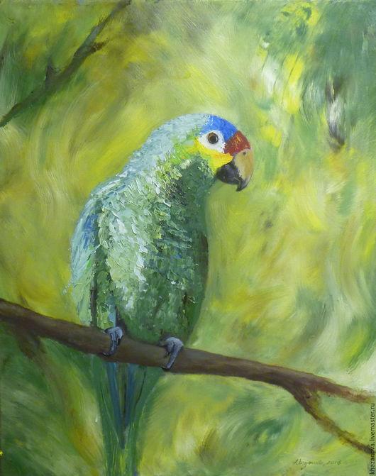 """Животные ручной работы. Ярмарка Мастеров - ручная работа. Купить """"Зеленый попугай"""" (холст/масло). Handmade. Зеленый, картина в раме"""