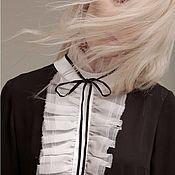 Одежда ручной работы. Ярмарка Мастеров - ручная работа Платье с белым воротничком и жабо. Handmade.