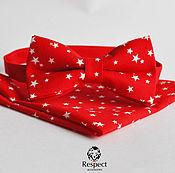 Аксессуары handmade. Livemaster - original item Red butterfly tie Stars pocket square / the red wedding. Handmade.