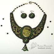 Украшения handmade. Livemaster - original item Necklace with serpentine embroidery green. Handmade.