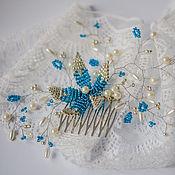 Свадебный салон ручной работы. Ярмарка Мастеров - ручная работа Гребень для волос с цветком и бусинами. Handmade.