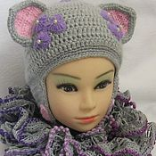 Аксессуары handmade. Livemaster - original item HAT-the CAT with ears for girls, knitted with a lining warm autumn-winters. Handmade.