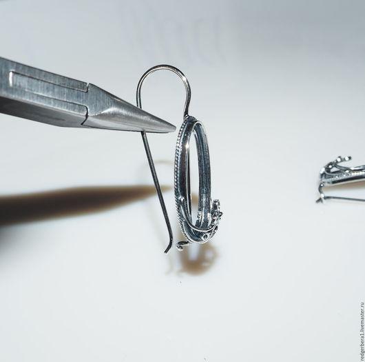 """Для украшений ручной работы. Ярмарка Мастеров - ручная работа. Купить Основа для серег """"Элеонора"""" (21.2 х 10.5)- серебрение 925 пробы. Handmade."""