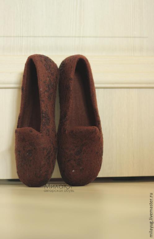 """Обувь ручной работы. Ярмарка Мастеров - ручная работа. Купить """"Truffle"""" туфельки балетки валяные. Handmade. Коричневый, войлочные тапочки"""
