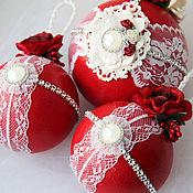 Подарки к праздникам ручной работы. Ярмарка Мастеров - ручная работа Елочные шары в наборе. Handmade.