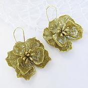 Украшения handmade. Livemaster - original item Flower loop earrings Large gold flower made of polymer clay. Handmade.