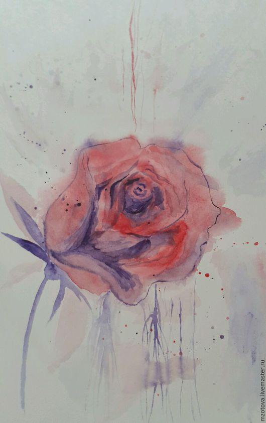 Картины цветов ручной работы. Ярмарка Мастеров - ручная работа. Купить Роза. Handmade. Роза, акварель, вода, рисунок