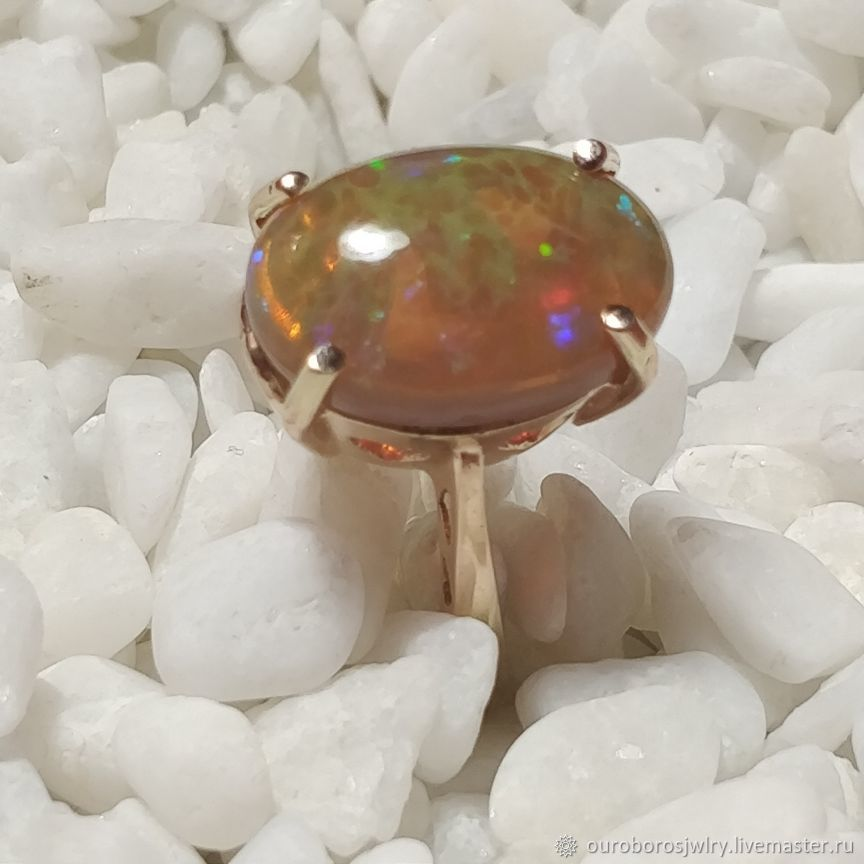 Gold ring with a magic opal, Rings, Novosibirsk,  Фото №1