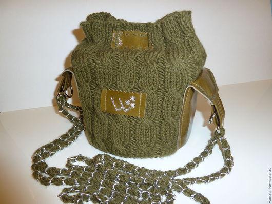 Женские сумки ручной работы. Ярмарка Мастеров - ручная работа. Купить Сумочка комбинированная. Handmade. Хаки, сумка через плечо