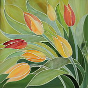 """Картины и панно ручной работы. Ярмарка Мастеров - ручная работа Картина из витражного стекла """"Тюльпаны"""", техника мозаика, витраж. Handmade."""
