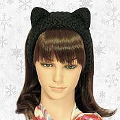 Аксессуары ручной работы. Ярмарка Мастеров - ручная работа Повязка на голову с ушками Кошка, вязаная для волос Черная. Handmade.