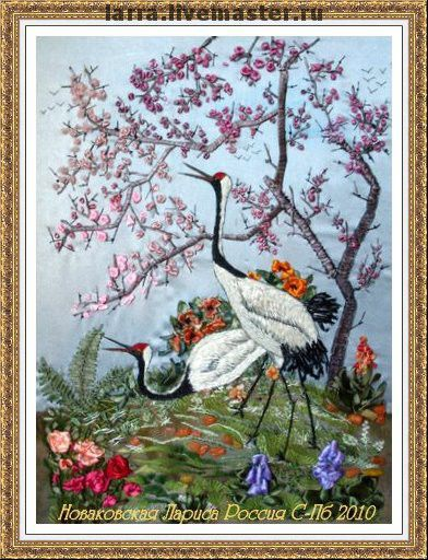 """Авторская работа с чистого листа. Картина """"Журавли"""" по мотивам традиционной китайской живописи. Что-то встревожило журавлиную пару. Возможно, это стайка пролетающих птиц, но покидать этот ра"""