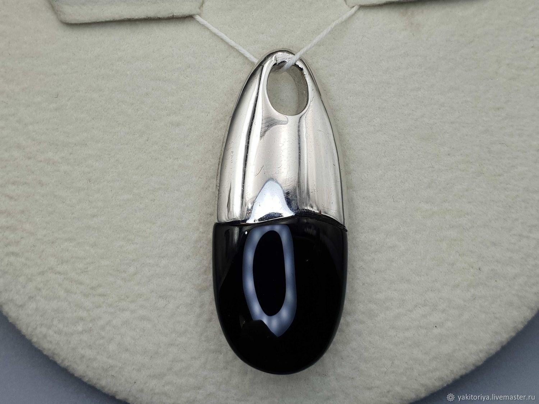 Серебряная подвеска с черным ониксом 18х16 мм, Подвеска, Москва,  Фото №1