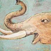 """Картины и панно ручной работы. Ярмарка Мастеров - ручная работа картина маслом, акрилом на холсте """"Слон"""". Handmade."""