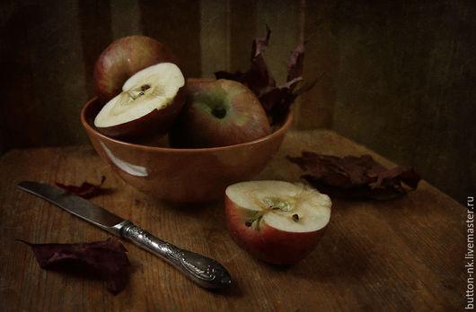 Фотокартины ручной работы. Ярмарка Мастеров - ручная работа. Купить Натюрморт Красные яблоки. Handmade. Коричневый, красный, бордовый, яблоки