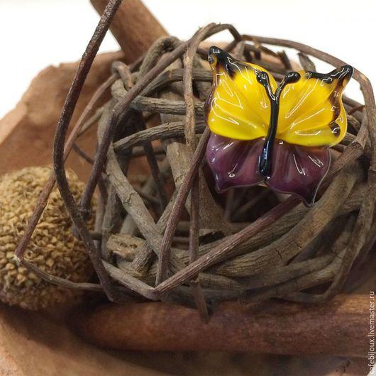 """Для украшений ручной работы. Ярмарка Мастеров - ручная работа. Купить Бусина, Мурано """"Бабочка"""", фигурная, желто-сиреневый. Handmade."""
