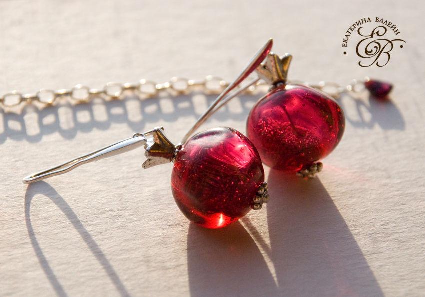 """Pomegranate"" - lampwork glass pendant, earrings, Jewelry Sets, St. Petersburg,  Фото №1"